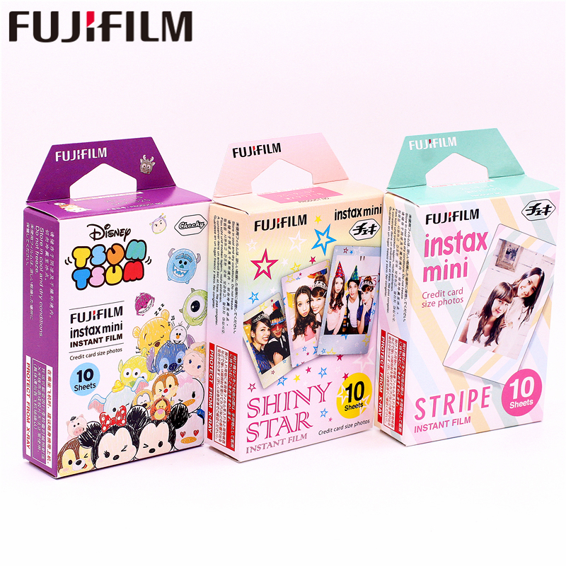 Galleria fotografica Fujifilm 30 sheets Instax TSUM TSUM+SHINY STAR+STRIPE Instant Film photo paper for Instax Mini 8 7s 25 50s 90 9 SP-1 SP-2 Camera