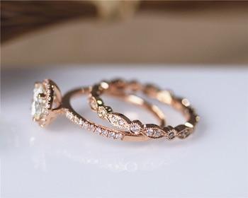 DUPUY 14K Rose Gold Engagement Ring Set 6.5mm Round Cut Forever Classic Ring Art Deco Full Eternity Diamonds Wedding Ring Set 2