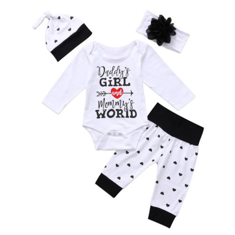 0 to 24M Newborn Baby Girls Clothes Long Sleeve Romper Jumpsuit +Pants+ Hat +Headband 4PCS Outfits Cotton Baby Clothing Set