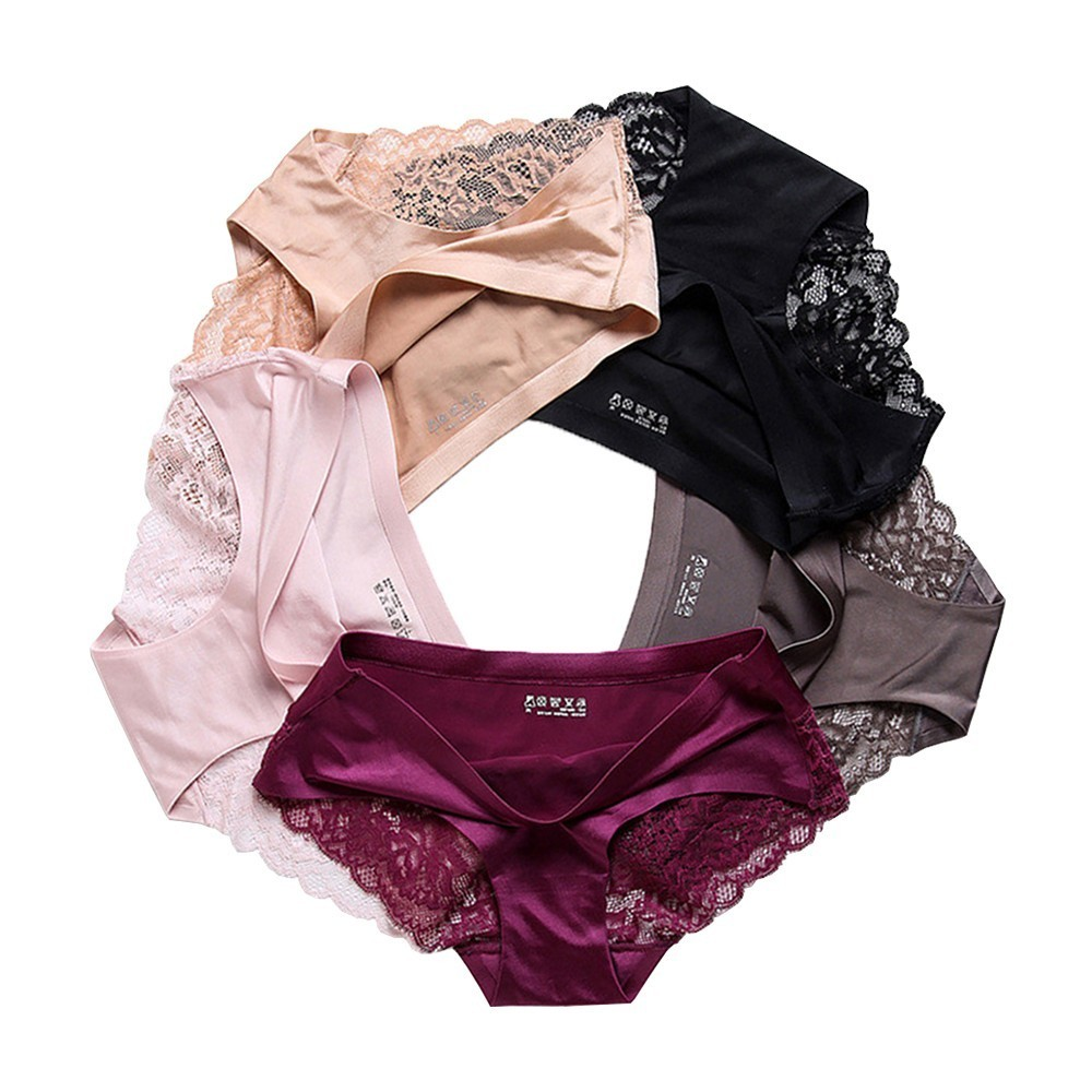 OURBLOG 5PCS Set Women's Lace   Panties   Seamless Underwear Silk for Girls Ladies Bikini Cotton Crotch Transparent Lingerie Briefs