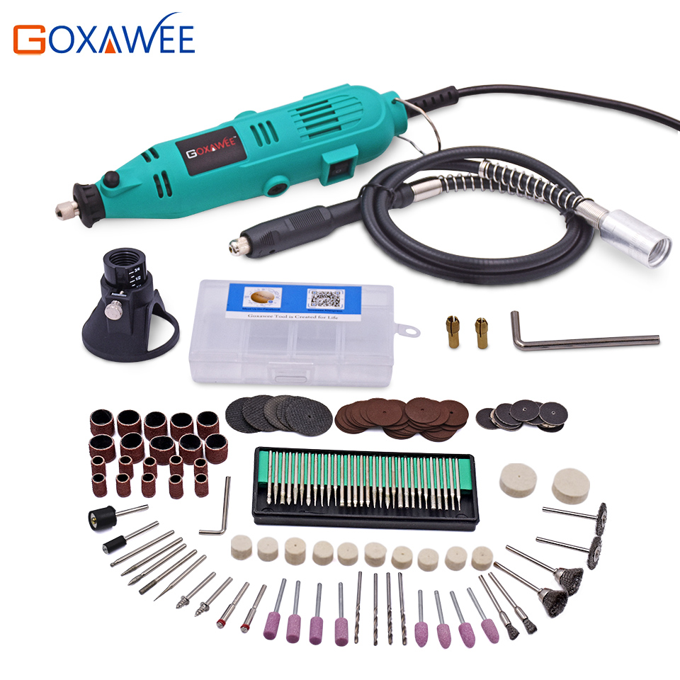 GOXAWEE 130W Electric Variable Speed Rotary Tool Mini Drill with Flexible Shaft 160PCS Accessories Power Tools for Dremel 3000 tungfull 130w dremel style electric rotary tool variable speed mini drill with flexible shaft and 124pc accessories power tools