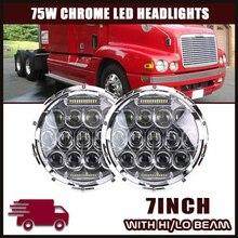2pcs 7inch 75W LED Headlight H4 High/Low Beam Roun