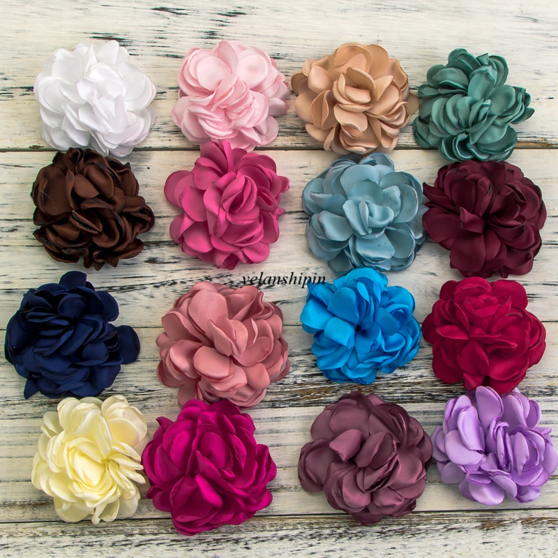 10PCS 8CM 20 Colors Vintage Artificial Fabric Flower For Girls Headband Chic Hair Flowers Hair Clip For Hair Accessories DIY handmade big fabric rose flower headband hair garland wedding headpiece floral crown 12 colors