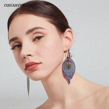 leaf earrings 2019 womens trendy fashion jewelry Bohemian Ethnic statement drop Korean tassel large