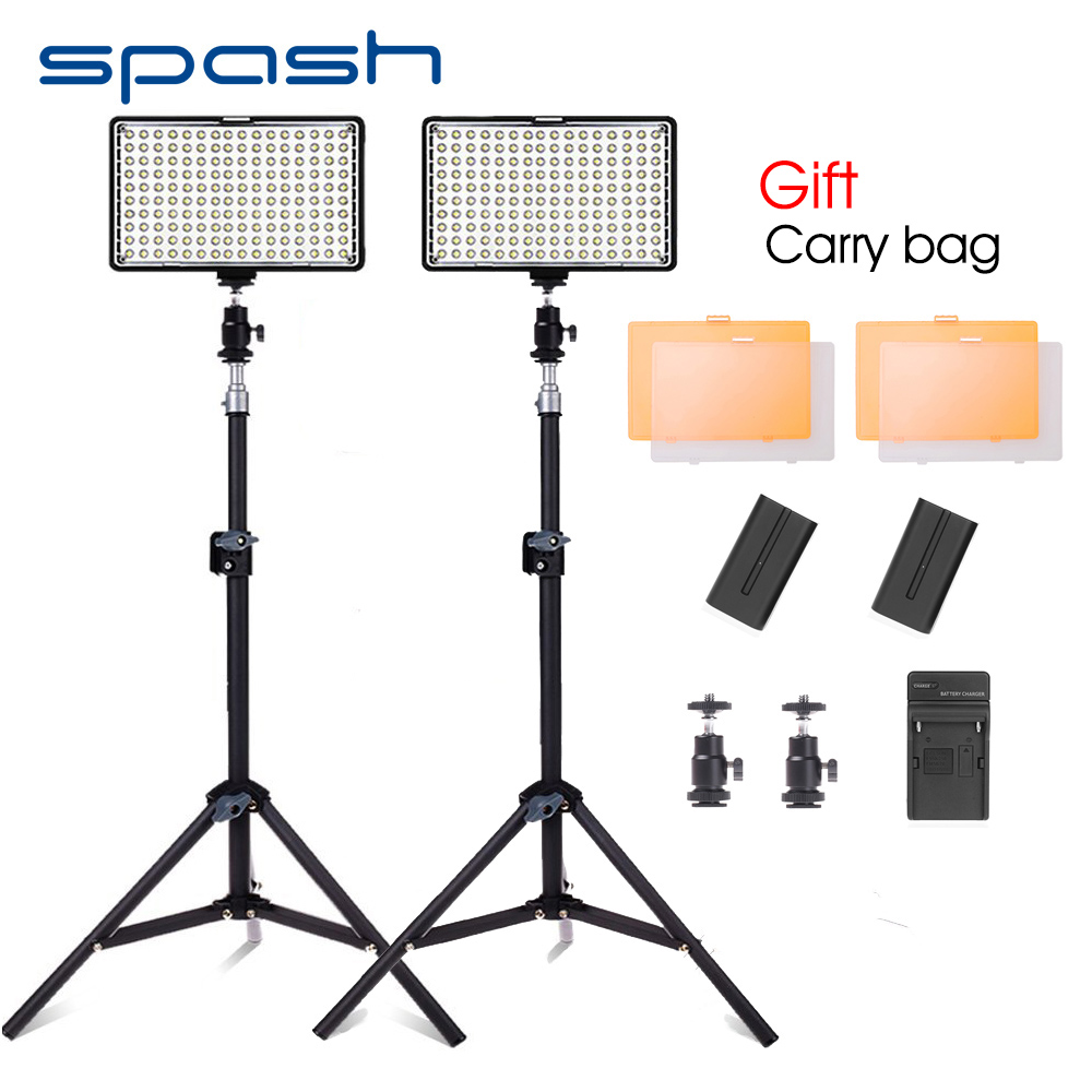spash TL-160S 2pcs LED Video Light with Tripod Studio Lamp Photo Photography Lighting Dimmable 3200K-5600K NP-F550 Battery latour 2400 led photography lighting dms 5600k studio video camera stage light lamp