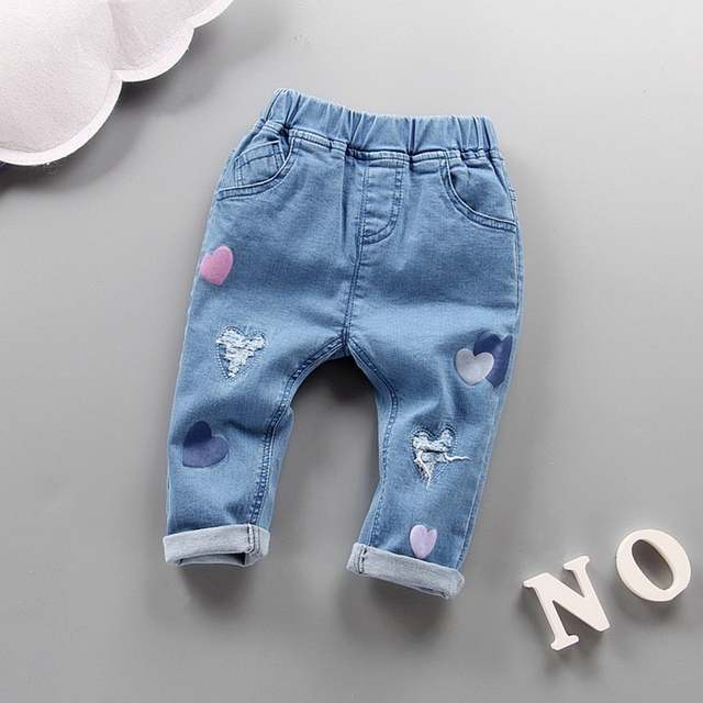 2017 children's spring clothing 1-3 years girl heart soft ripped jeans toddler girl cotton denim pants baby girls brand trousers