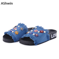 AShwin 2018 Stylish Denim Slippers Sandals Women Summer Shoes Flats Slip On Sandal Lady Flower Slippers