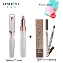 2pc Electric Epilator Mini Eyebrow Shaver Instant Painless Portable Eyebrow Trimmer+Black Eyebrow Tattoo Pen Long Lasting Pencil(China)
