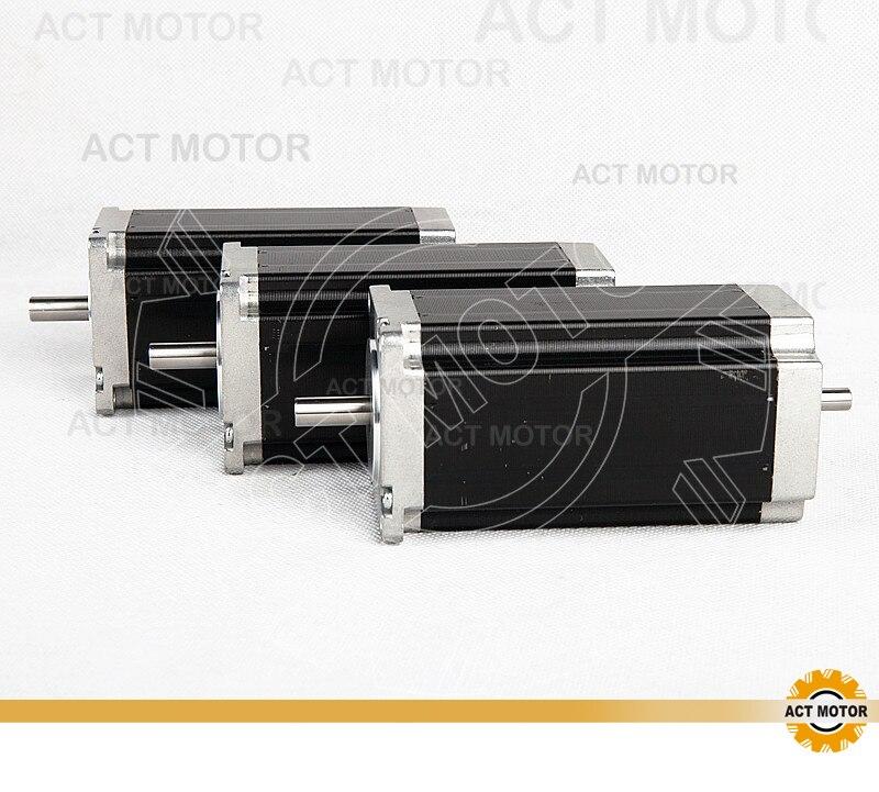 ACT Motor 3PCS Nema23 Stepper Motor 23HS2442B Dual Shaft 4-Lead 425oz-in 112mm 4.2A Bipolar CE ISO ROHS Engraving Machine