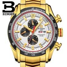BINGER Fashion Stainless Steel Chronograph Sports Mens Watches Top Brand Luxury Quartz Business Watch Clock Relogio Masculino