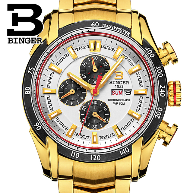 BINGER Fashion Stainless Steel Chronograph Sports Mens Watches Top Brand Luxury Quartz Business Watch Clock Relogio Masculino