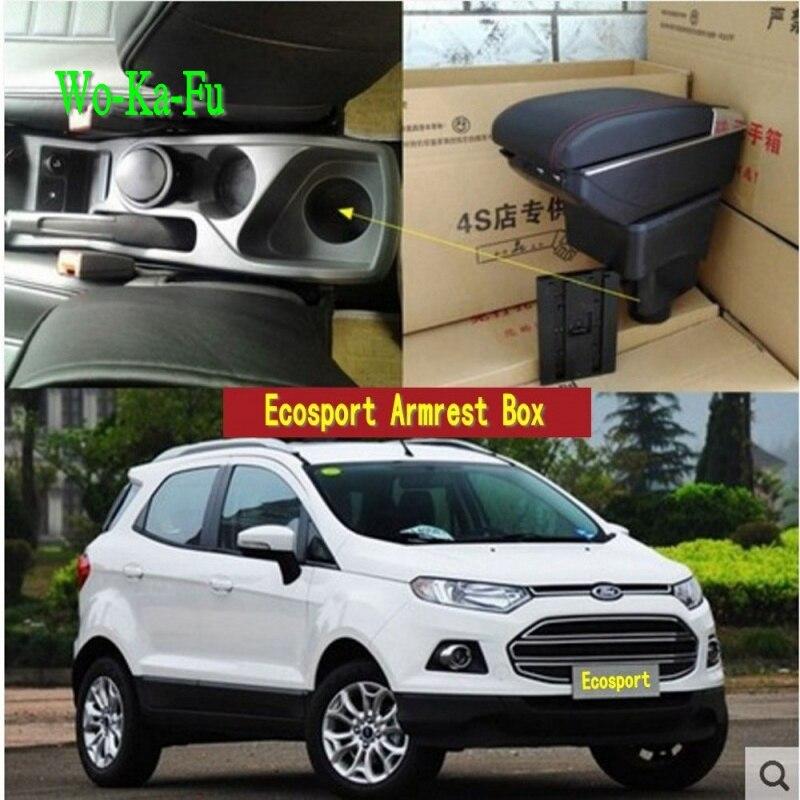 Para Ecosport Armazenar conteúdo caixa apoio de braço central caixa de Armazenamento caixa de braço com suporte de copo cinzeiro interface USB 2002-2016