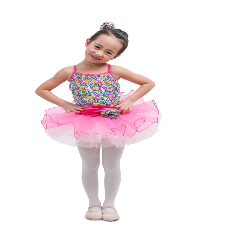 Buy Cheap Rainbow Sequin Ballet Tutu Girls Tutus Light Pink Tulle Dance Dress Stage Performance Costume With Pouf Hair Barrette 15015 At All Costs Ballet
