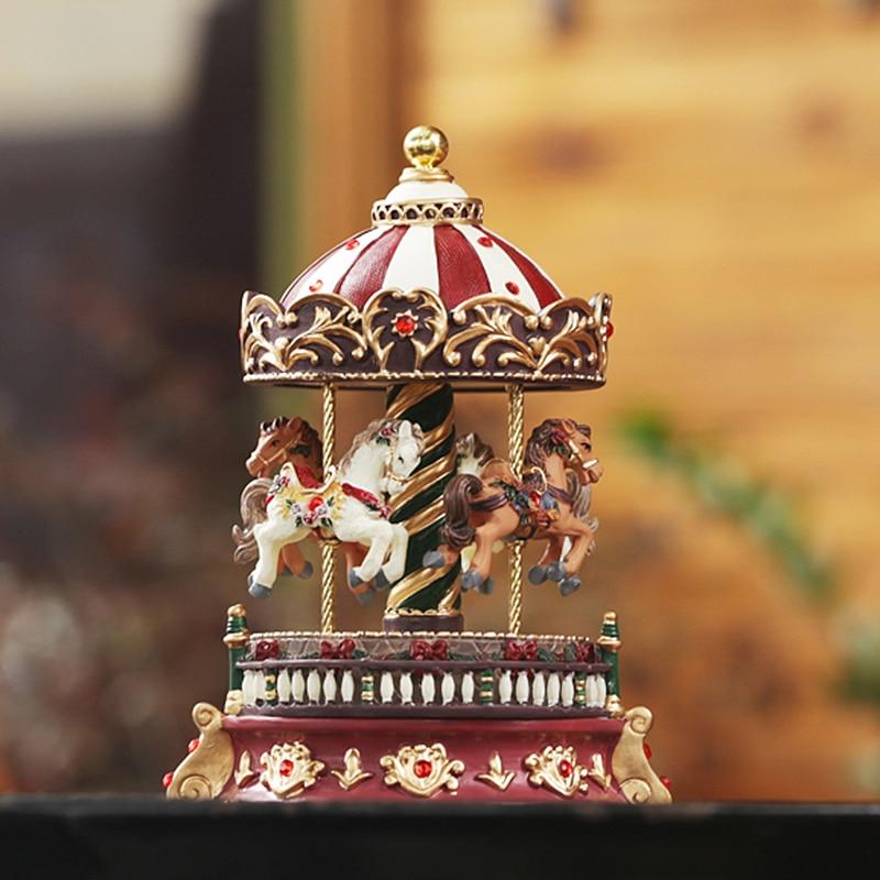 Romantic Carousel music box vintage rotating music box Christmas gift, unusual gifts, home decorationRomantic Carousel music box vintage rotating music box Christmas gift, unusual gifts, home decoration