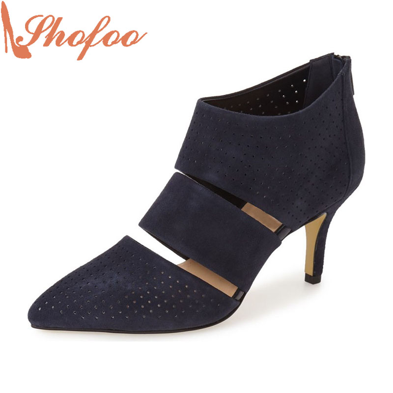 2017 Shofoo Summer Women Non-Leather Pointed Toe Med High Heels Fashion Dress&Career Sandals Woman Shoes,Large Zapatos4-16  shofoo newest women shoes med heels pointed toe pumps for woman dress