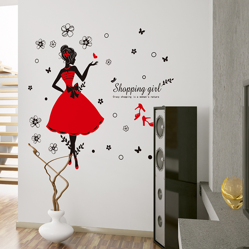 crazy shopping lady wall stickers shop decor pvc red skirt wall