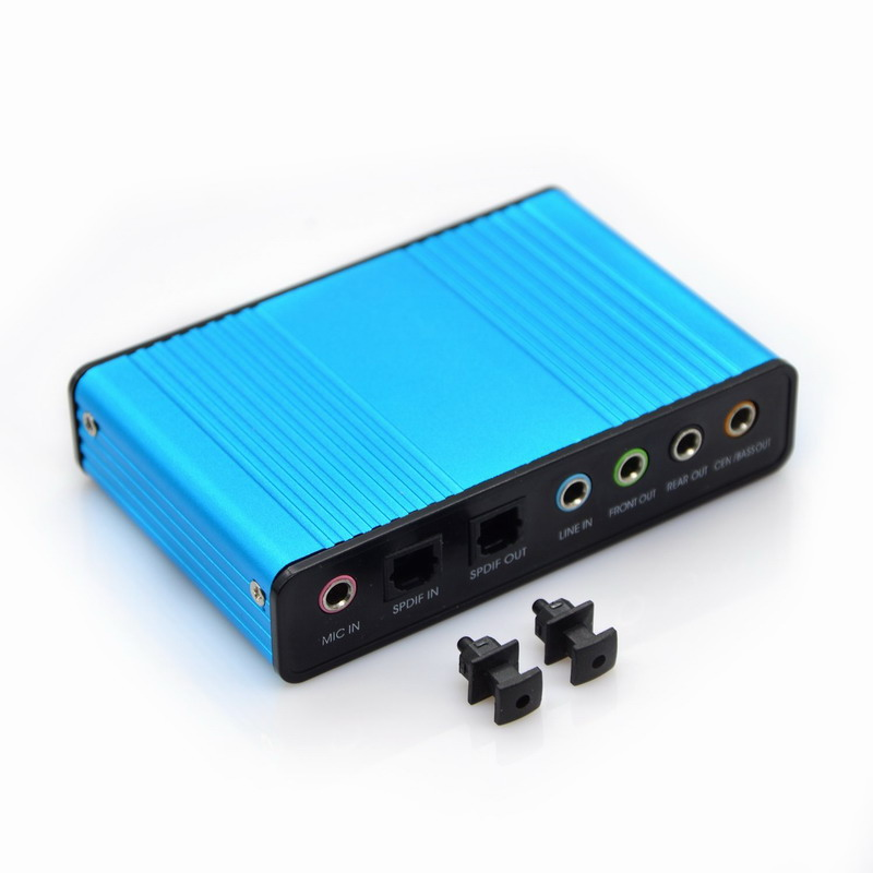 Blue 6 Channel External Sound Card 5.1 Surround Sound USB 2.0 External Optical S/PDIF Audio Sound Card Adapter for PC Laptop