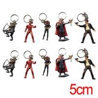 Halder Movie The Avengers Cosplay Anime Figures Charms Key Chains 8 PCS Iron Man Thor SuperHero
