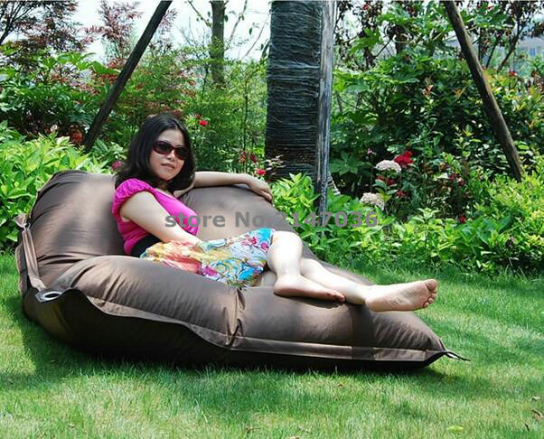Waterproof brown outdoor beanbag chair bed with strapes