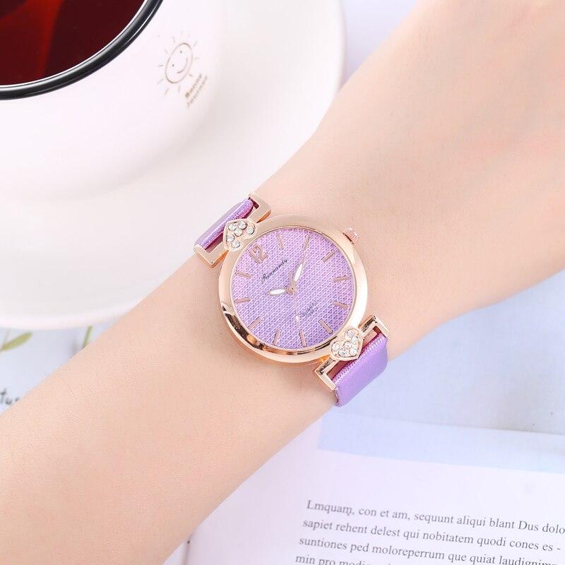 Romantic Heart Women Watches Fashion Rhinestone Women Bracelet Clocks Leather Purple Quartz Watch Montre Femme Bayan Kol Saati