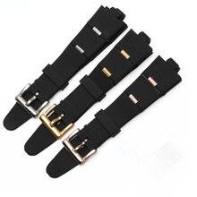 Ремешок для часов BVLG Diagono, черный с серебристой и розовой золотой пряжкой, Силиконовый каучуковый ремешок для часов, 22 мм, 24 мм