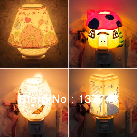 Free Shipping Led Plug In Electric Ceramic Small Night Lamp Europe Type Of Fragrance