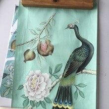 Китайский образец, ручная роспись, шелк/серебро/золото, фольга, обои на заказ, любой китайский, ручная роспись, растение, цветы с птицами