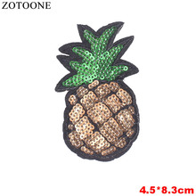 ZOTOONE Iron On Pineapple Sequin Patches For Clothing Embroidered Cartoon Letter Panda Flower Lips Patch Cloth Sticker