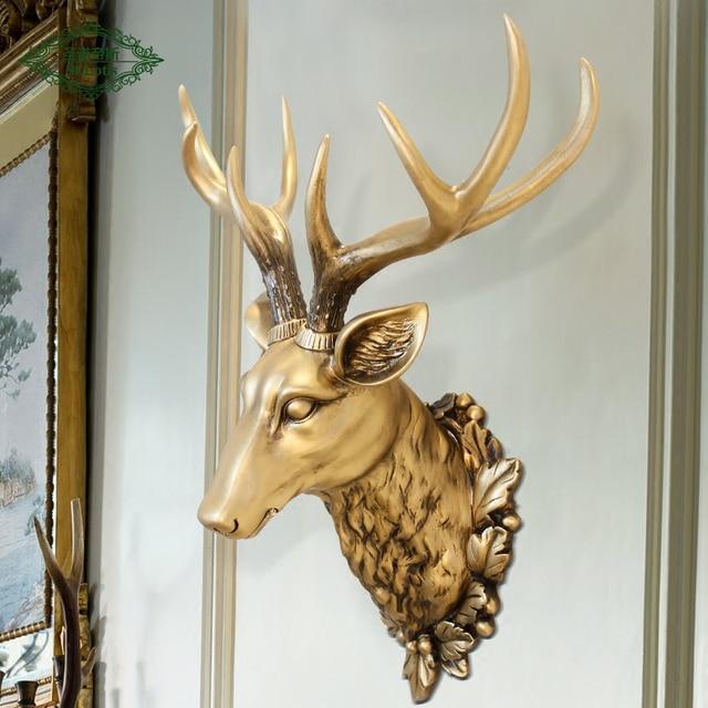3D Resin Deer Head Wall Hanging Animal Garden Sculpture Resin Decorative  Deer Head Garden Statues For
