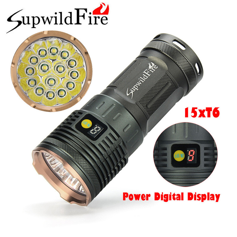 Dropshipping Supwildfire 50000LM 15 x XM-L T6 LED Power Digital Display Hunting Flashligt 7.20 super bright bike bicycle light supwildfire 50000lm 15 x xm l t6 led power