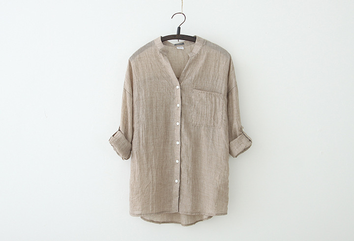 Female summer hot sale Solid Button flax straight shirts woman spring Cardigan Breathable loose cotton thin blouse