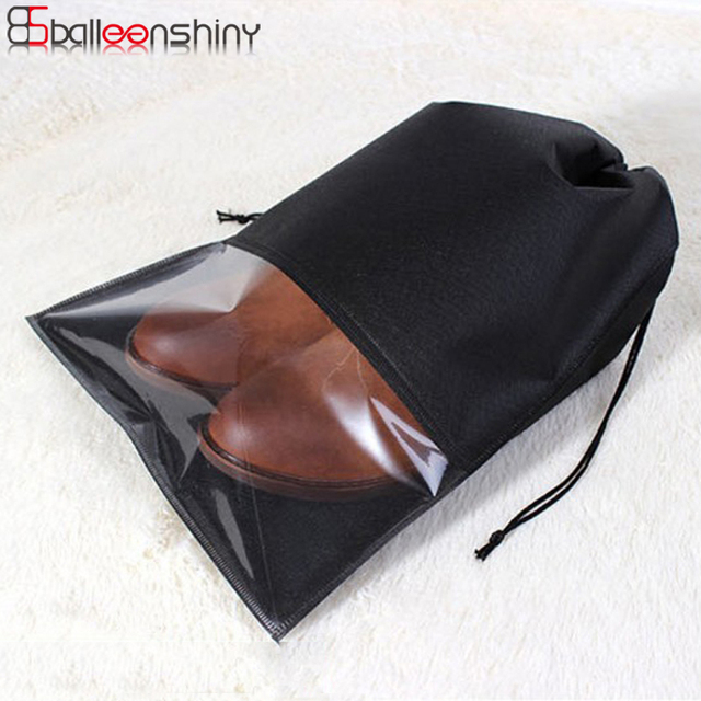 Balleenshiny S/L Waterproof Shoes Storage Bag Pouch Portable Travel Organizer Drawstring Bag Cover Non-Woven Laundry Organizador