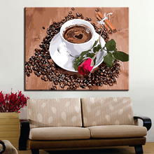 Wall Abstract Coffee Red Rose Picture Modern Home Decoration Frameless DIY Digital Oil Painting By Numbers Artwork
