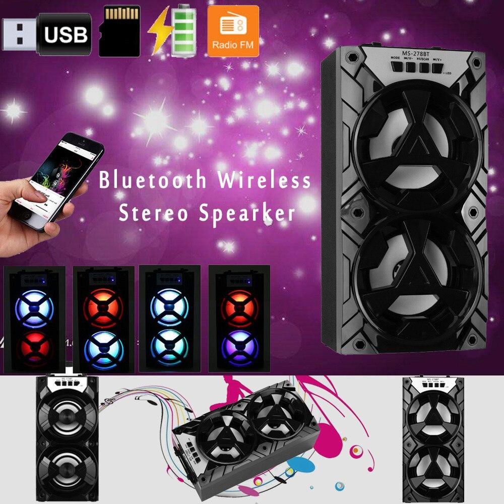 Haut-parleur Bluetooth sans fil Portable extérieur stéréo Super basse avec Radio USB/TF/FM mains libres surround de musique Portable pour les douches