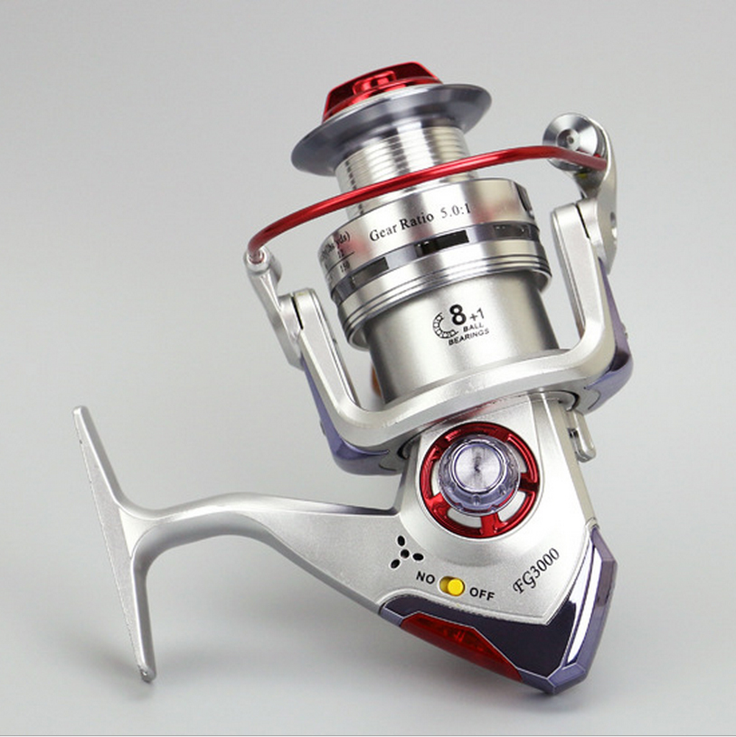 NEW HOT SALES FG Automatic with light fishing reel 3000-6000 ICE FLY CARP spinning reel 9 HPCR Ball Bearings full metal handle
