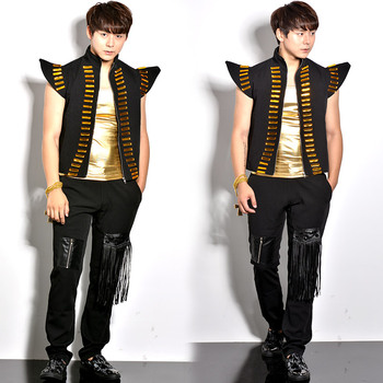 Male singer DJ stage costumes vest  European and American punk men's fashion bead vest and trousers sets Free Shipping