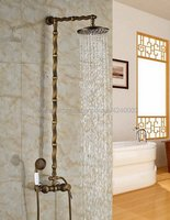 Antique Brass Shower Bath Faucet Sets Wall Mounted EXposed 8 Rainfall Shower Mixers With Hand Shower Sprayer Krs058