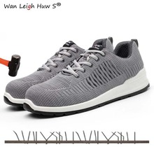 все цены на Plus size men casual breathable summer mesh steel toe caps work safety shoes anti-pierce Construction site worker security boot онлайн
