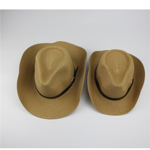 Adult And Children Classic Cattleman Straw Cowboy Hat White Beige Khaki  Brown Colors For Man Woman c4ddba4007d2