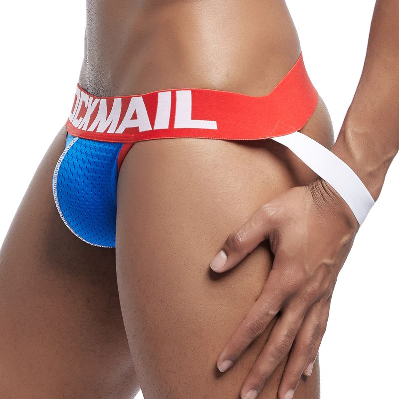 JOCKMAIL  Jocks Men Mesh Low Waist Sexy Men Underwear Briefs Gay Penis Pouch Wonderjock Bikini Underwear Jockstrap Thong Tanga
