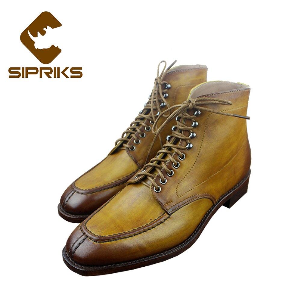 Sipriks de lujo para hombre Goodyear welted botas brillantes botas de tobillo amarillo hombres de split vestido del dedo del pie botas american trabajo indio botas