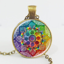 Handmade henna yaga necklace om symbol buddhism Mandala Necklace Pendant Art Jewelry Glass Photo Necklace