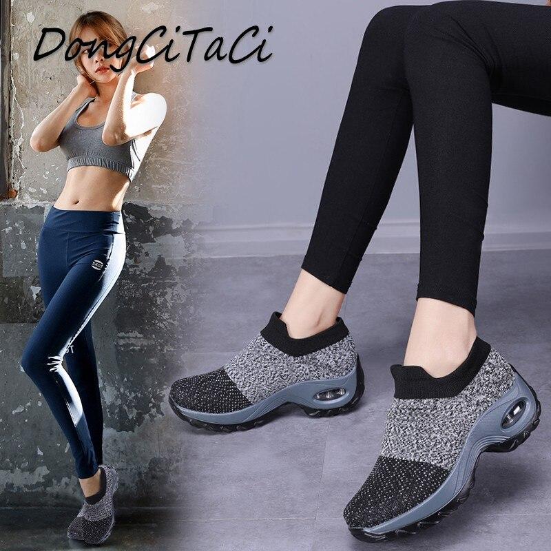 54d33ff83001b0 Chaussures Noir Inférieur Vulcaniser Épais Chaussette En D'air Femmes  Respirant Dongcitaci Marche Plates Femme Pour ...