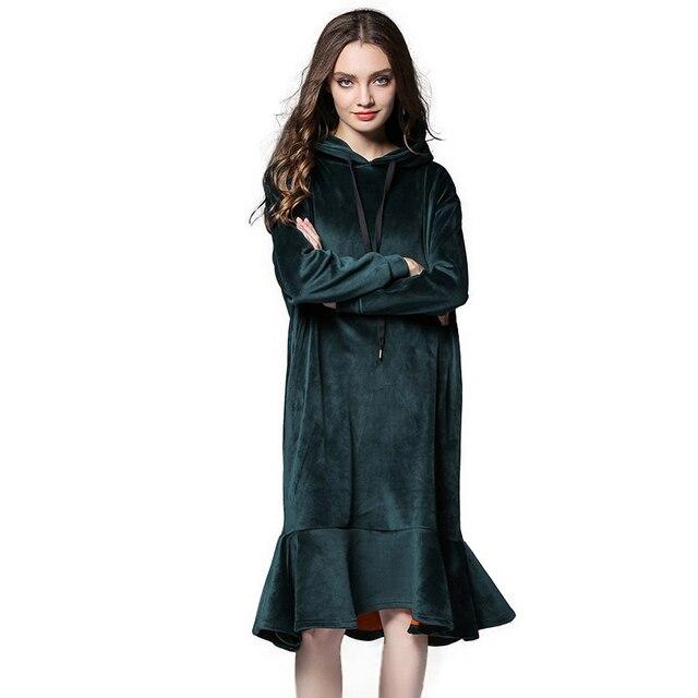9b84583c75f Thermal Warm Winter Dress Fleeced Women Hooded Long Velour Dresses Plus Size  XL to 4xl