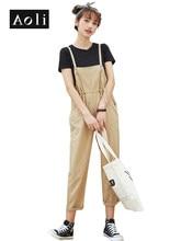 AOLI Summer woman Jumpsuit Overall T shirt Set Black O Neck Basic Elastic Tapered Pants Korean Kawaii Two Piece Set DTZ911038(China)