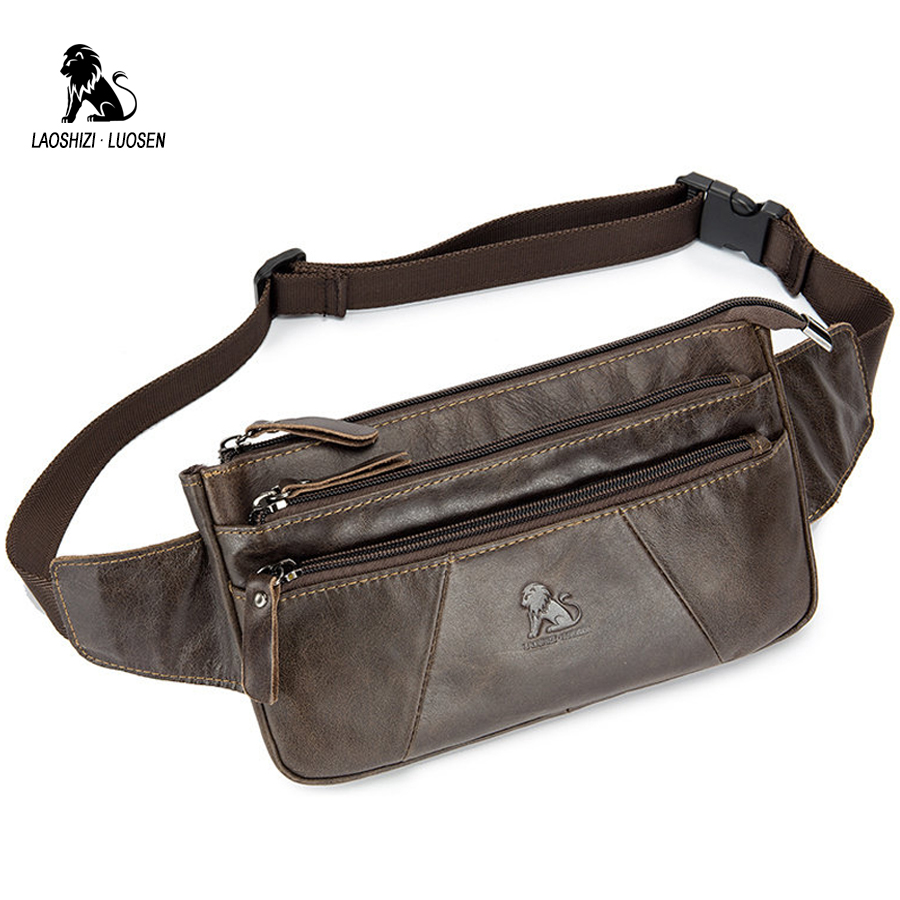 LAOSHIZI LUOSEN Genuine Leather Waist Packs Men Fanny Pack Belt Bag Phone Pouch Bags Travel Waist Pack Male Small Waist Bag цены