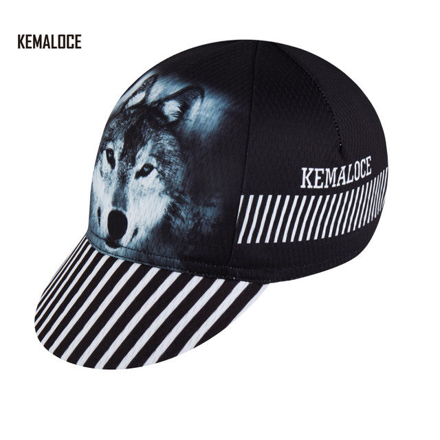 9f42bb94275 KEMALOCE Outdoor Special Sublimation Printing Bike Hat Cheap Pro Team Black  Wolf Cycling Cap For Men
