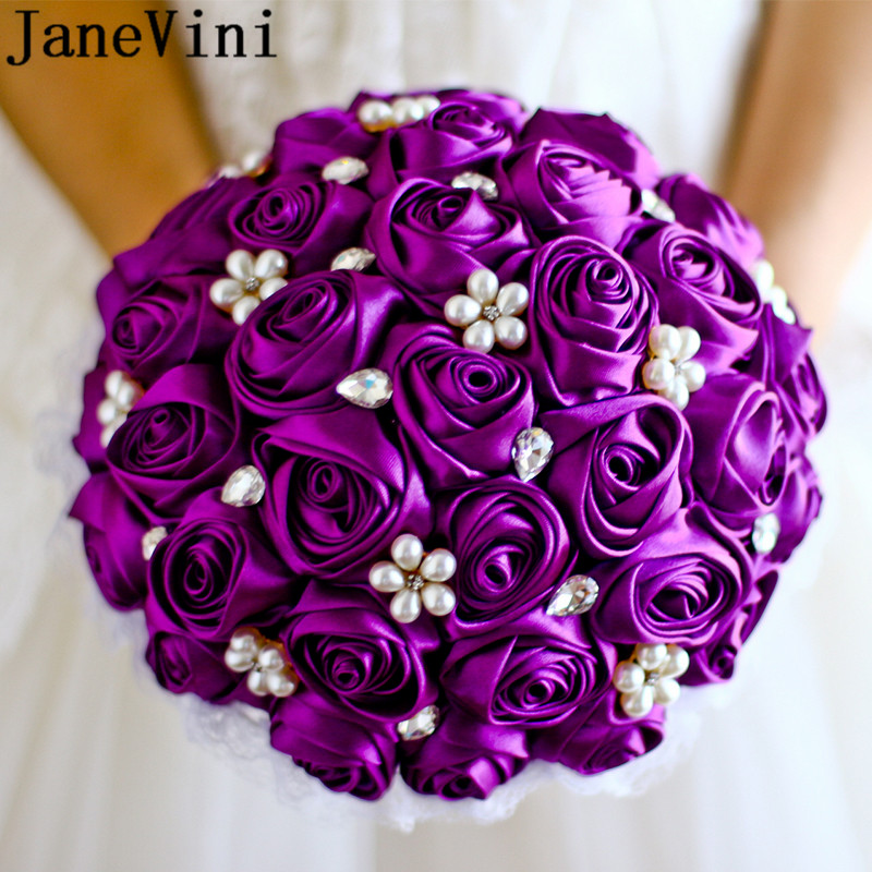 JaneVini Brooch Diamond Purple Rose Flowers Pearl Royal Blue Bridal Bouquets Jewelry Crystal Fake Bride Bouquet For Wedding 2019