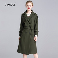 CHAOJUE Brand Women's Plus Size Army Green Extra Long Wool Coat 2018 Autumn/Winter Loose Woolen Coats Ladies Woolen Trench Gift