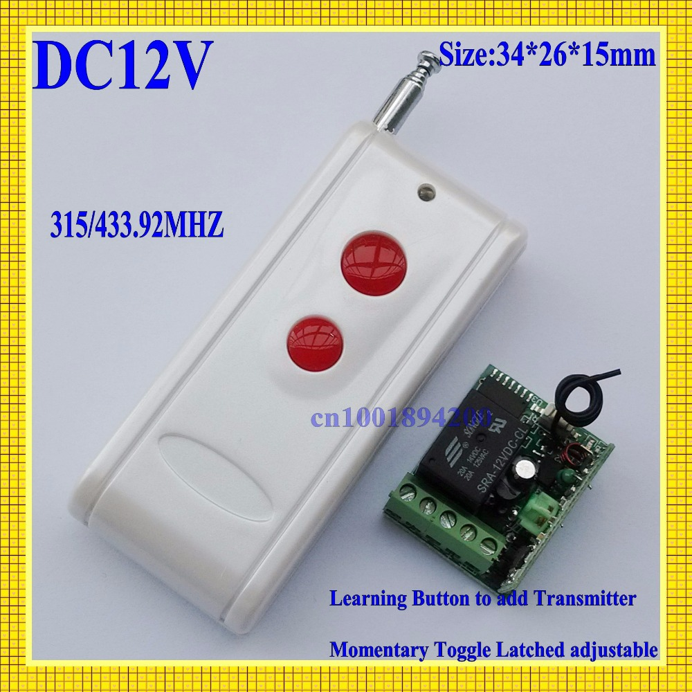 DC12V Mini Small Volume Remote Control Light Lamp LED Power Remote ON OFF Switch Door Access Garage Remote Controller 315/433MHZ small relays wireless rc switch button signal line on off dc3 7 5v 12v controller remote control module